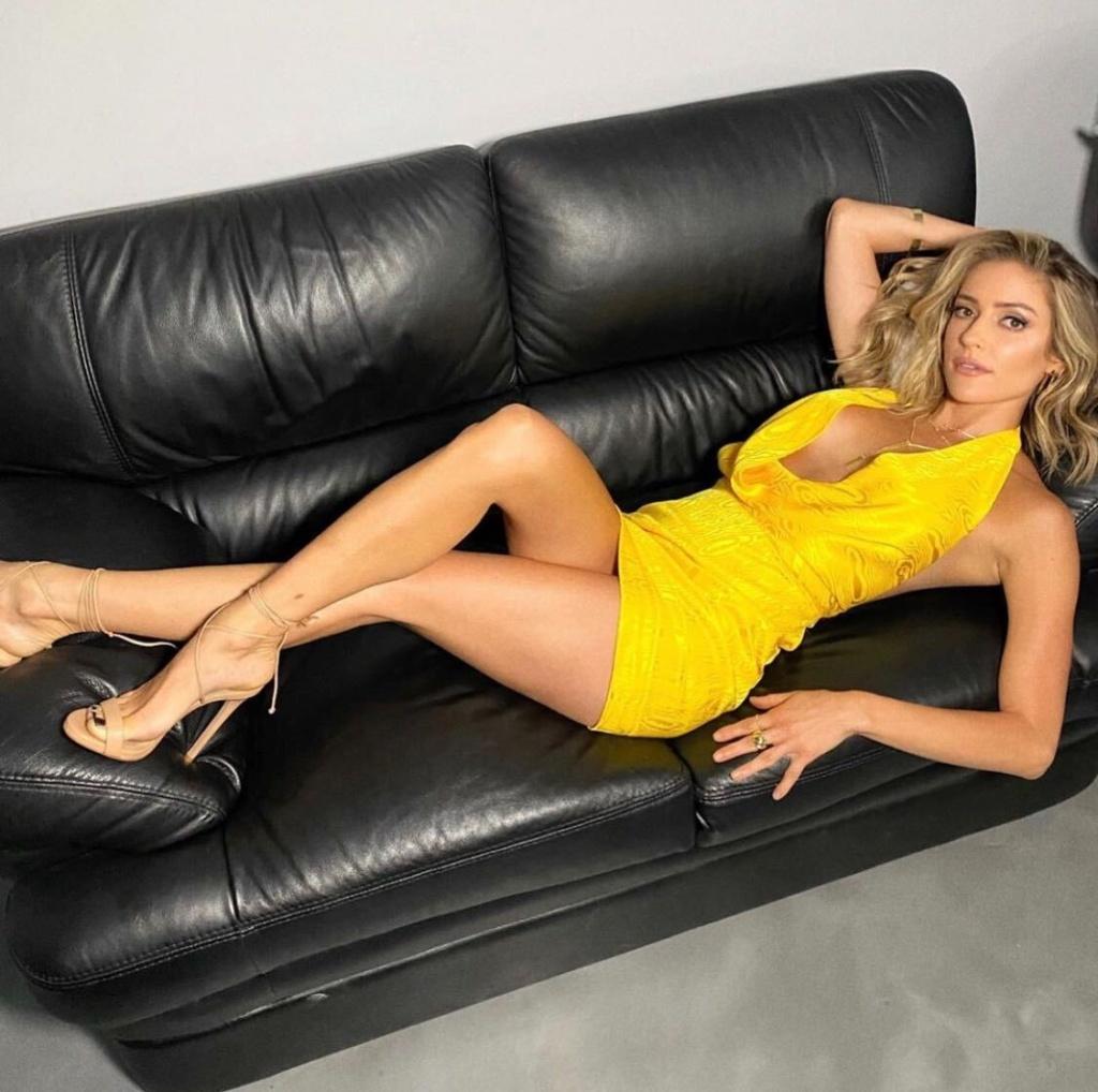 Kristin Cavallari's Yellow Draped Dress