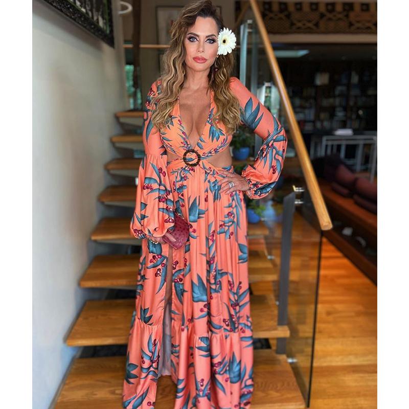 D'Andra Simmons' Coral Printed Cutout Dress