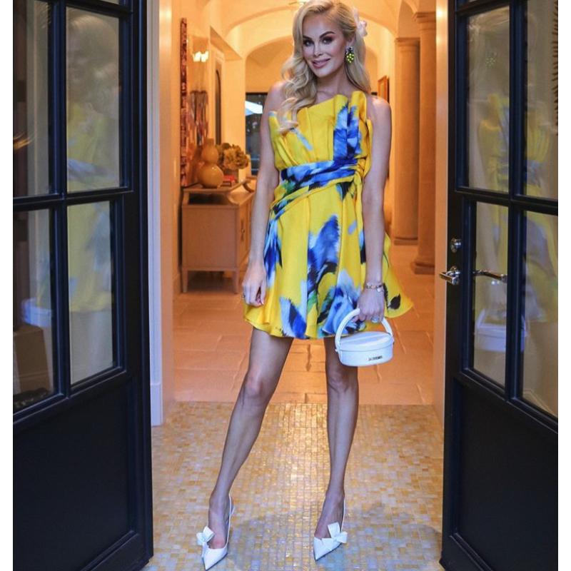 Kameron Westcott's Yellow and Blue Floral Ruffle Dress