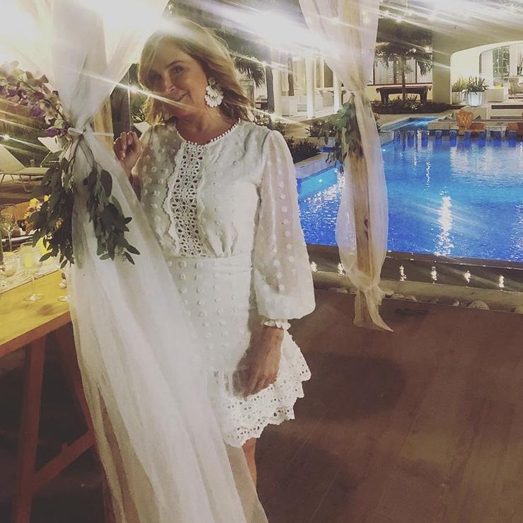 Sonja Morgan's White Lace Trim Dress