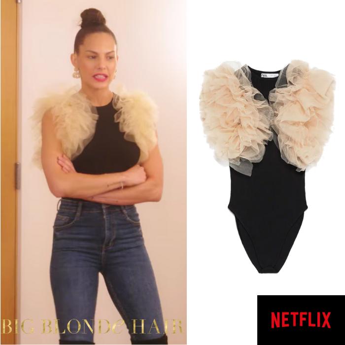 Amanza Smith's Tulle Sleeve Bodysuit