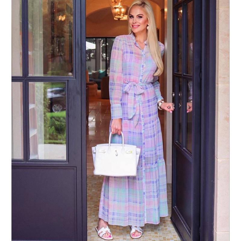 Kameron Westcott's Pastel Plaid Maxi Dress