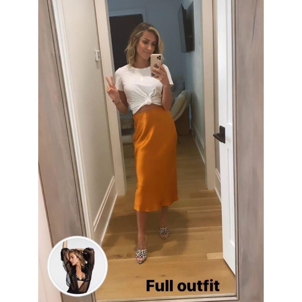 Kristin Cavallari's Orange Silk Skirt
