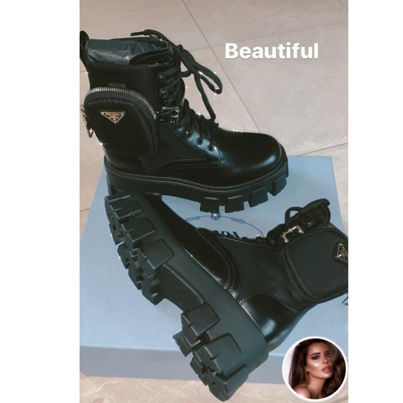 Brielle Biermann's Black Pocket Combat Boots