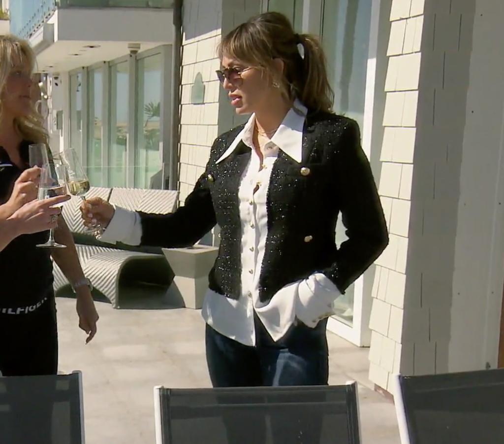 Kelly Dodd's Metallic Tweed Jacket with White Shirt