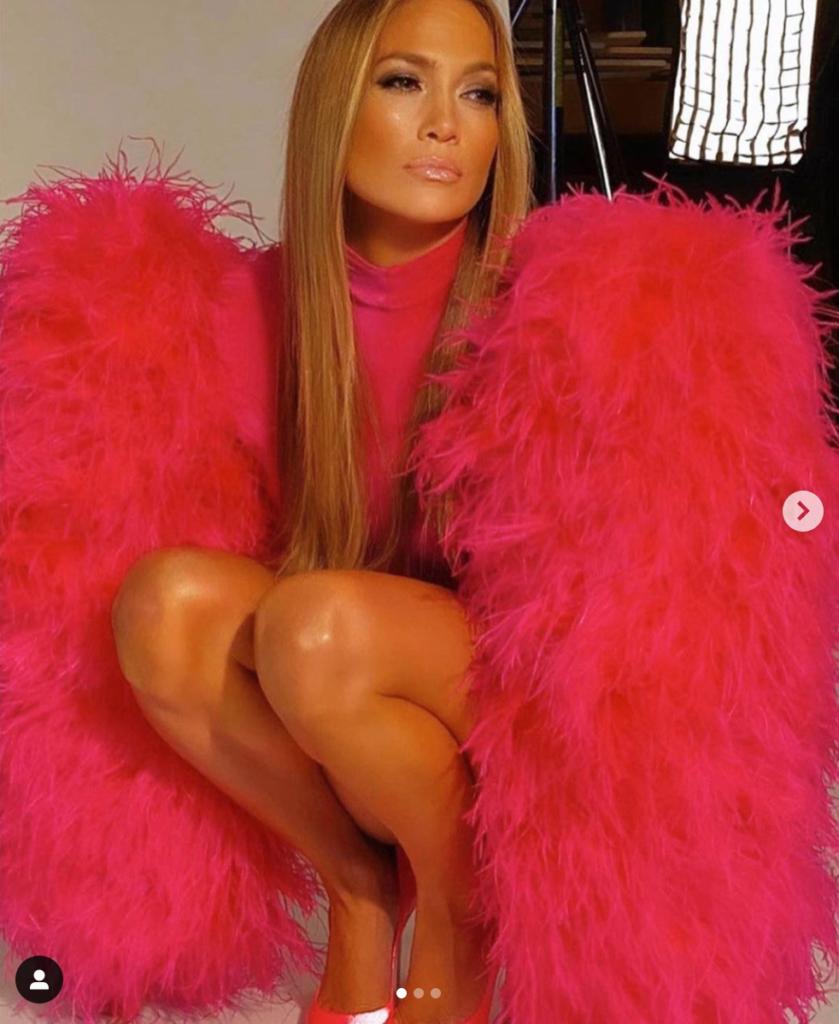 J Lo wearing Christian Cowan's Pink Feather Dress