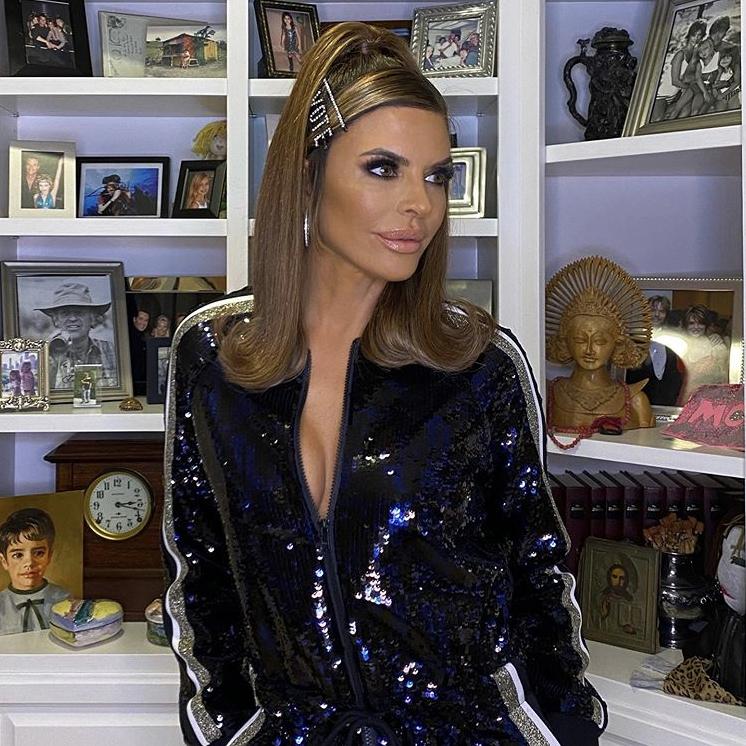 Lisa Rinna's Blue and Black Sequin Jumpsuit