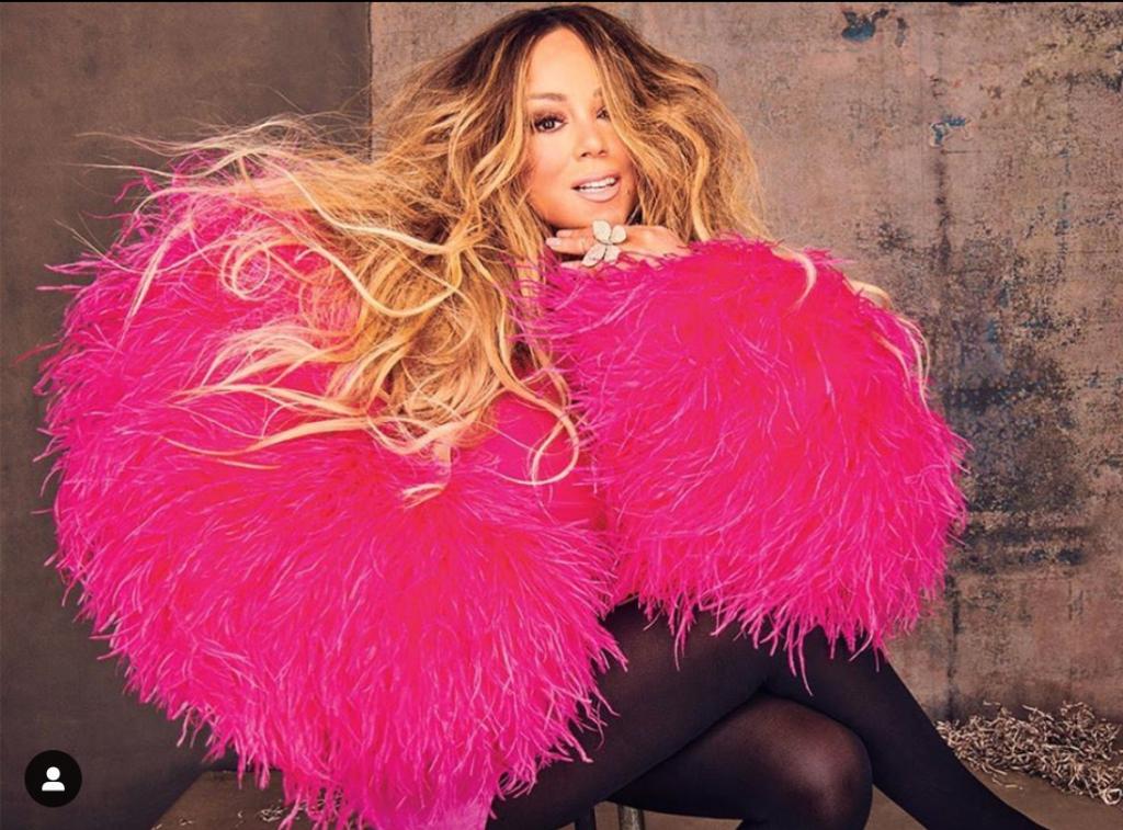 Mariah Carey wearing Christian Cowan's Pink Feather Dress