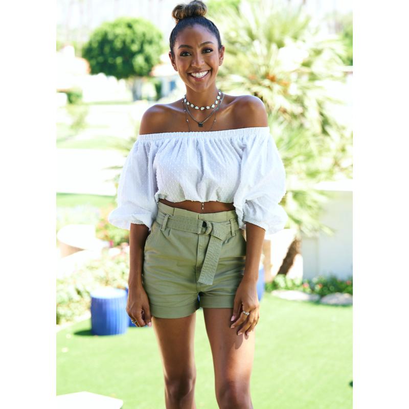 Tayshia Adams' Green Belted Shorts