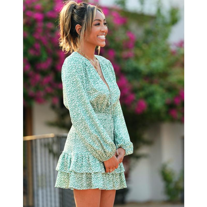 Tayshia Adams' Green Printed Ruffle Dress