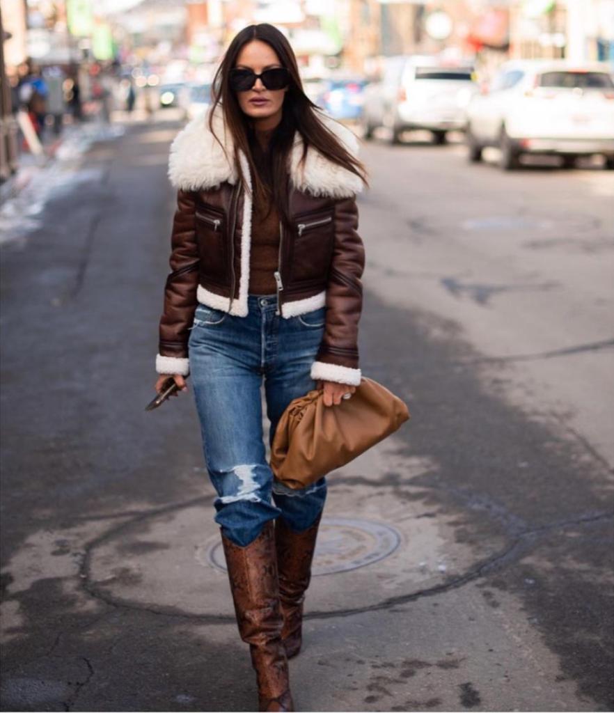 Lisa Barlow's Brown Leather Jacket with Fur Trim