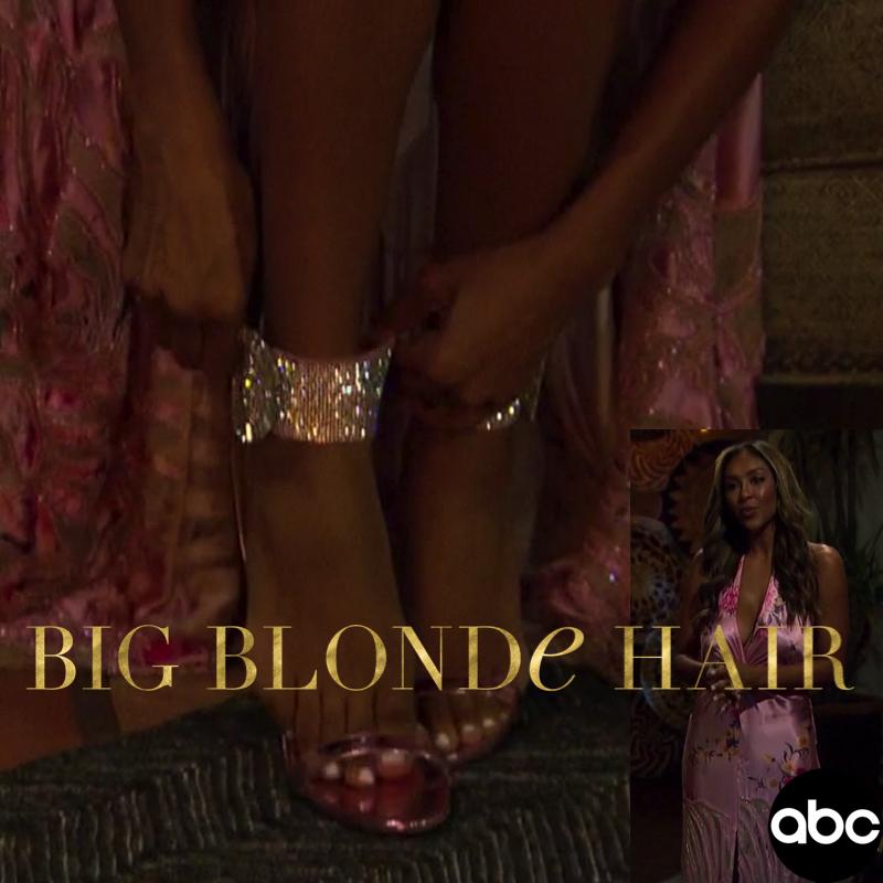 Tayshia Adams' Pink Crystal Buckle Sandals
