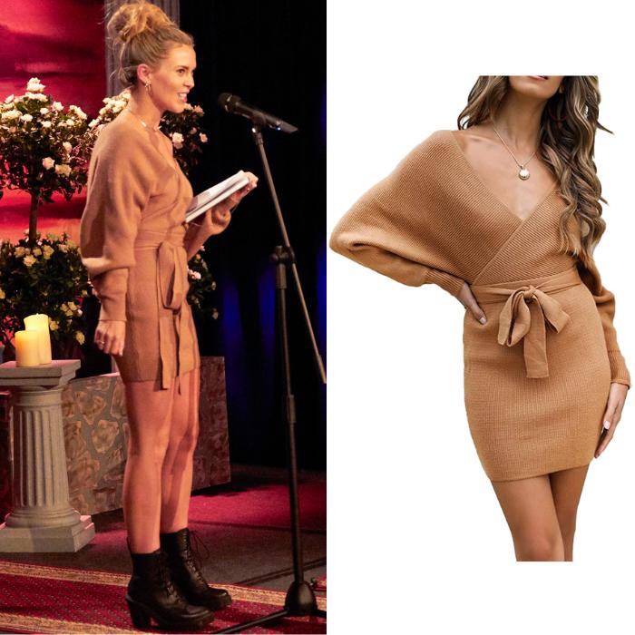 Anna Redman's Camel Sweater Dress