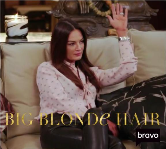 "Lisa Barlow's ""V"" Logo Tie Blouse"