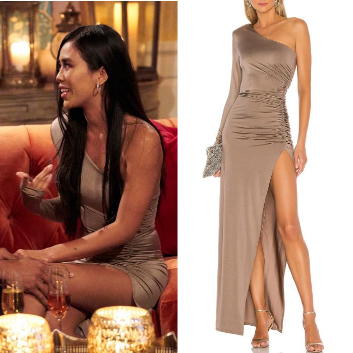 Marylynn Sienna's Taupe One Shoulder Dress