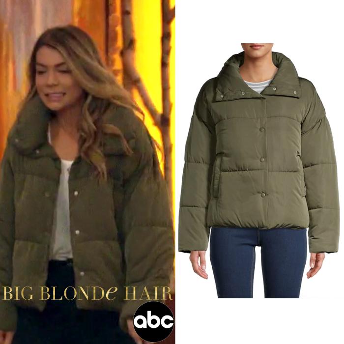 Sarah Trott's Olive Green Puffer Jacket