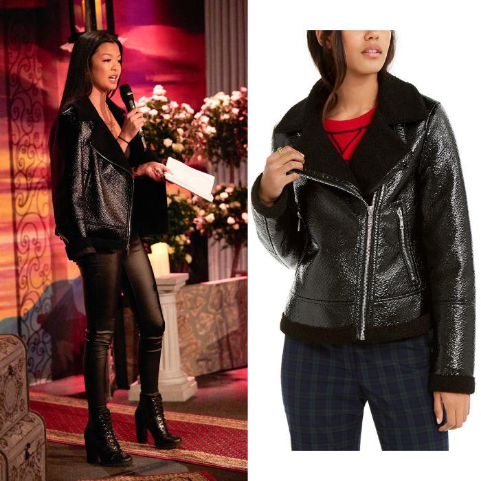 Serena Chew's Shiny Black Moto Jacket