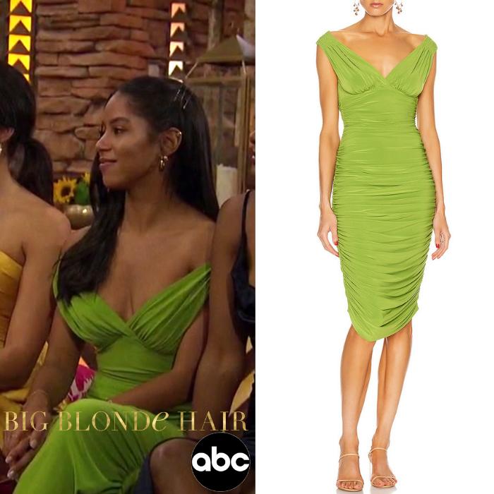 Bri Springs' Green Off the Shoulder Ruched Dress