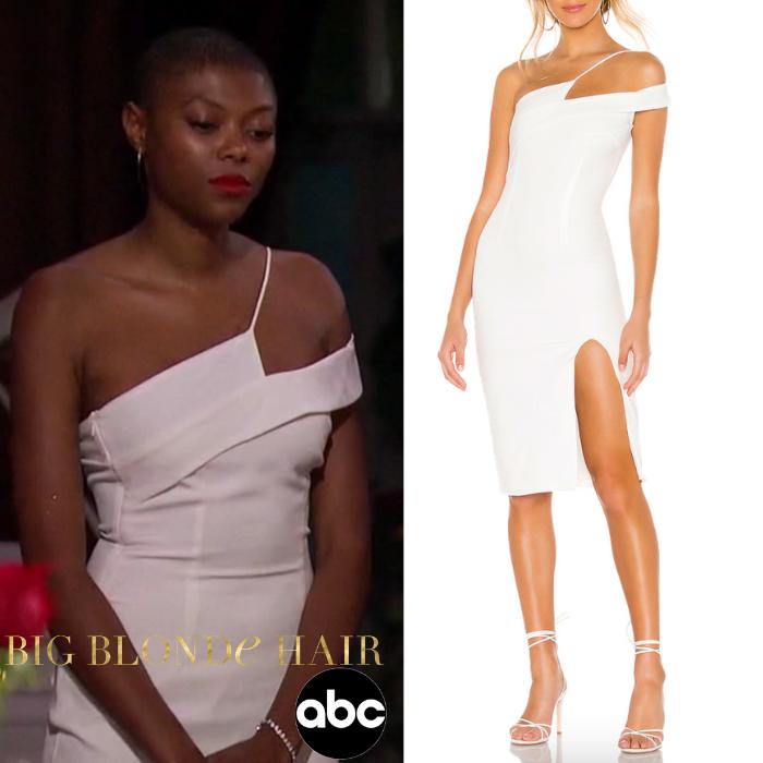 Chelsea Vaughn's White Asymmetric Dress
