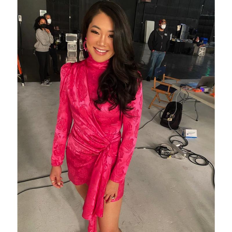 Crystal Kung Minkoff's Pink Satin Draped Dress