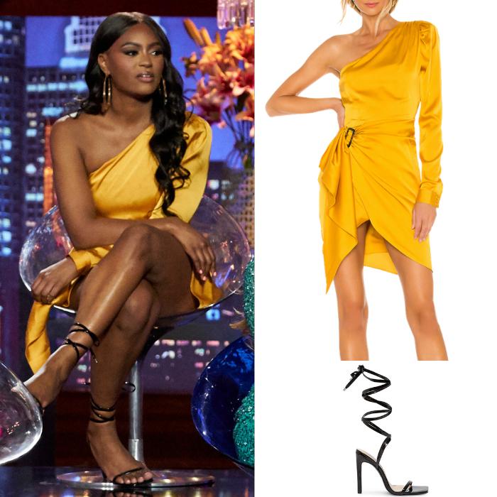 Khaylah Epps' Yellow Satin Asymmetrical Dress