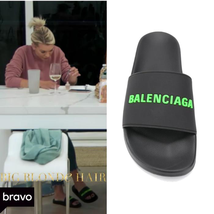 Lindsay Hubbard's Black and Neon Green Balenciaga Slides