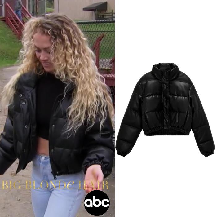 MJ Snyder's Black Leather Puffer Jacket