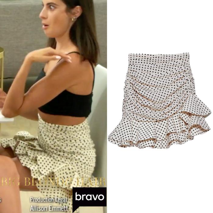 Paige DeSorbo's White Polka Dot Ruffle Skirt