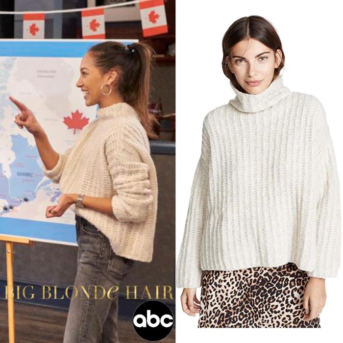 Serena Pitt's White Ribbed Sweater