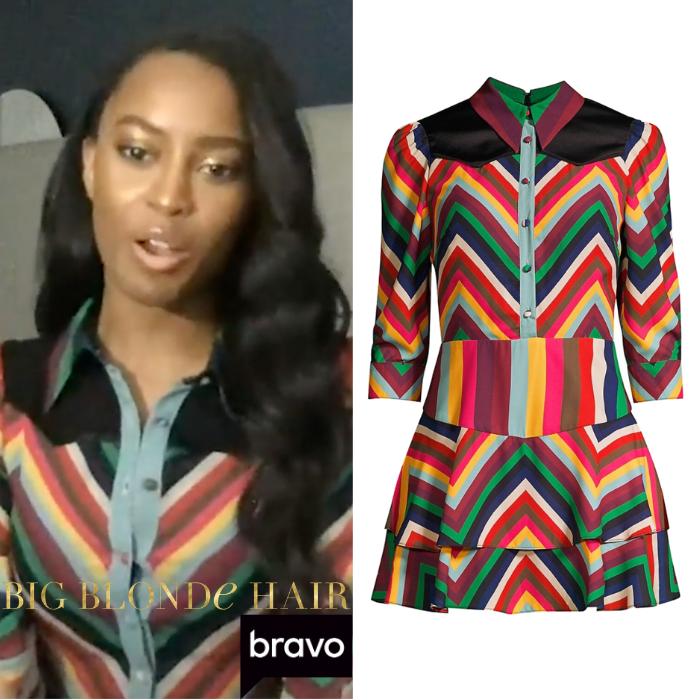Ciara Miller's Rainbow Chevron Stripe Dress