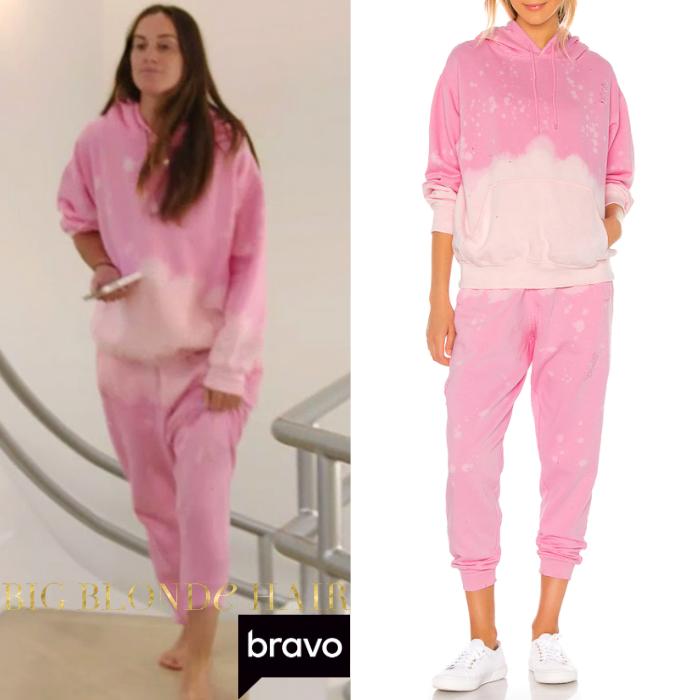 Hannah Berner's Pink Acid Wash Sweatsuit
