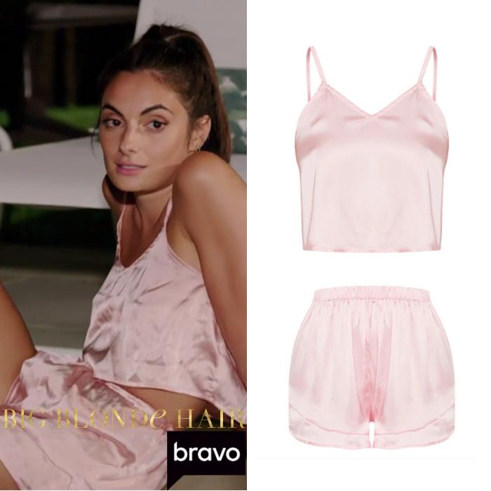 Paige DeSorbo's Pink Satin Pajama Set