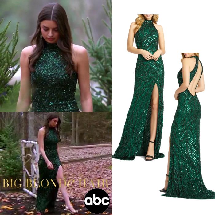Rachael Kirkconnell's Green Sequin Halter Gown