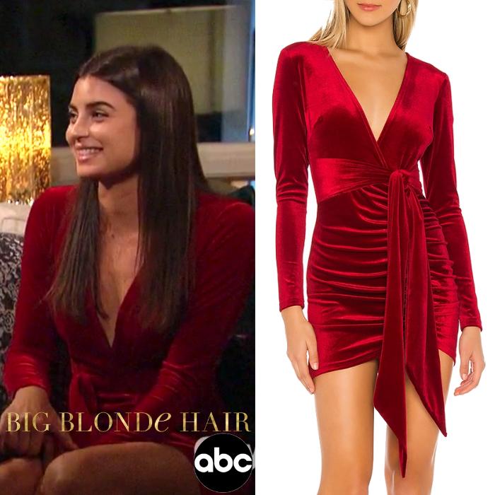Rachael Kirkconnell's Red Velvet Dress