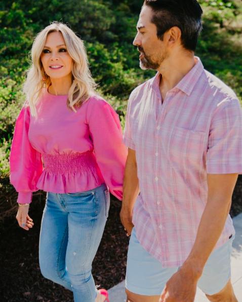 Tamra Judge's Pink Smocked Top on Instagram