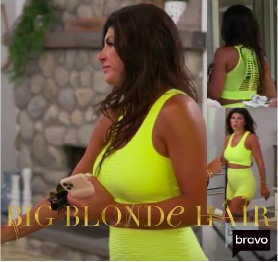 Teresa Giudice's Neon Yellow Sports Bra and Shorts
