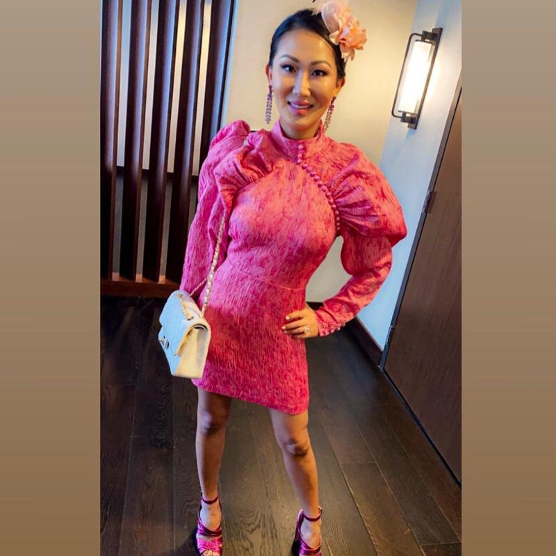 Tiffany Moon's Pink Puff Sleeve Dress