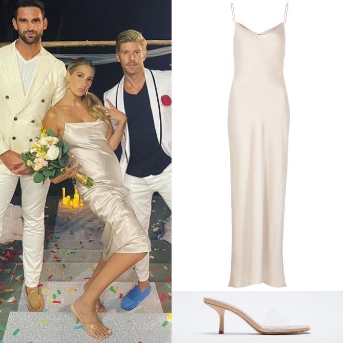 Amanda Batula's Champagne Satin Slip Dress