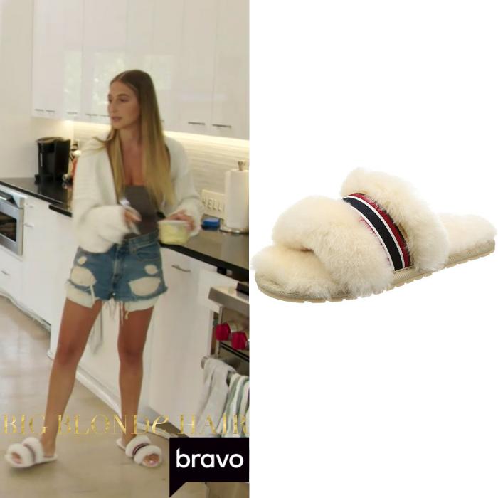 Amanda Batula's Striped Sheepskin Slippers