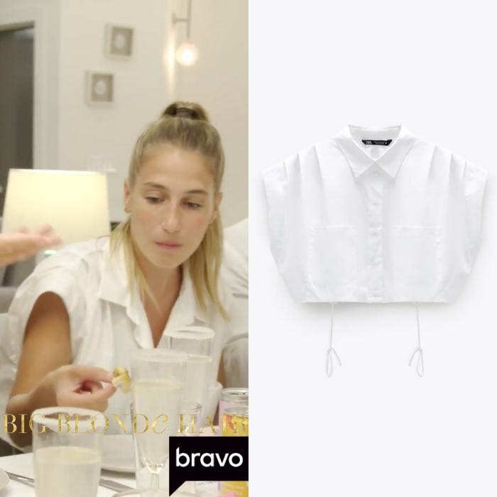 Amanda Batula's White Pleated Cropped Shirt