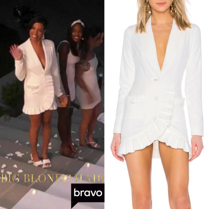 Danielle Olivera's White Ruffle Trim Blazer Dress