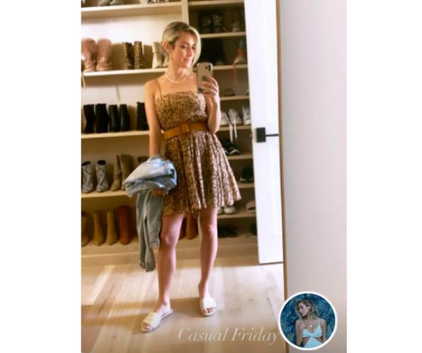 Kristin Cavallari's Brown Metallic Floral Dress