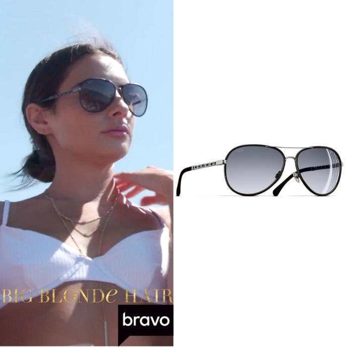 Paige DeSorbo's Black Chain Aviator Sunglasses