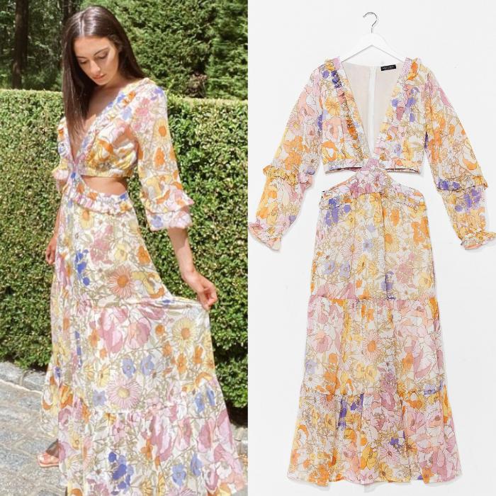 Paige DeSorbo's Floral Cutout Maxi Dress