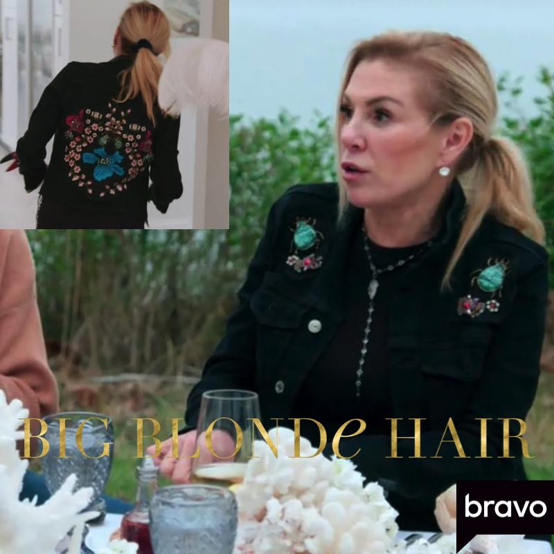 Ramona Singer's Black Embellished Denim Jacket