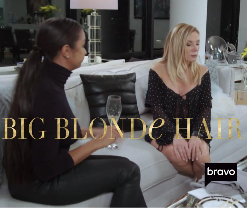 Ramona Singer's Black Leather Throw Pillow Talking to Eboni K. Williams