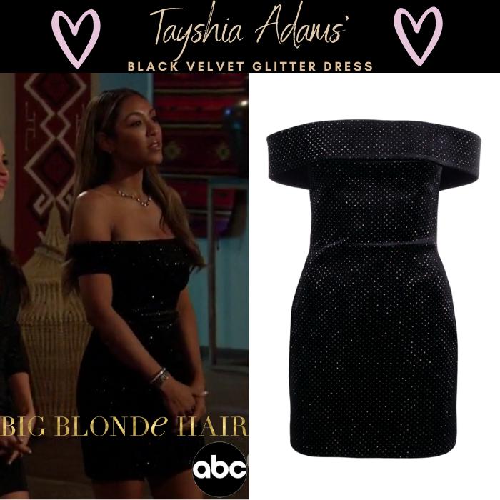 Tayshia Adams' Black Velvet Glitter Dress