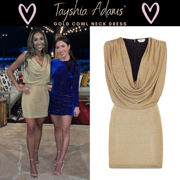 Tayshia Adams' Gold Cowl Neck Dress