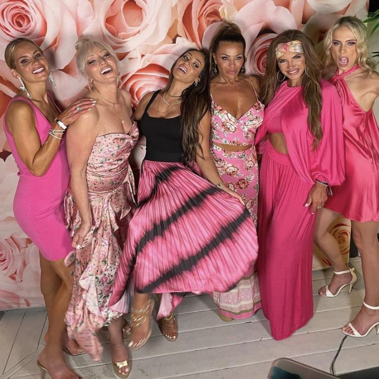 Dolores Catania's Pink Floral Cutout Dress