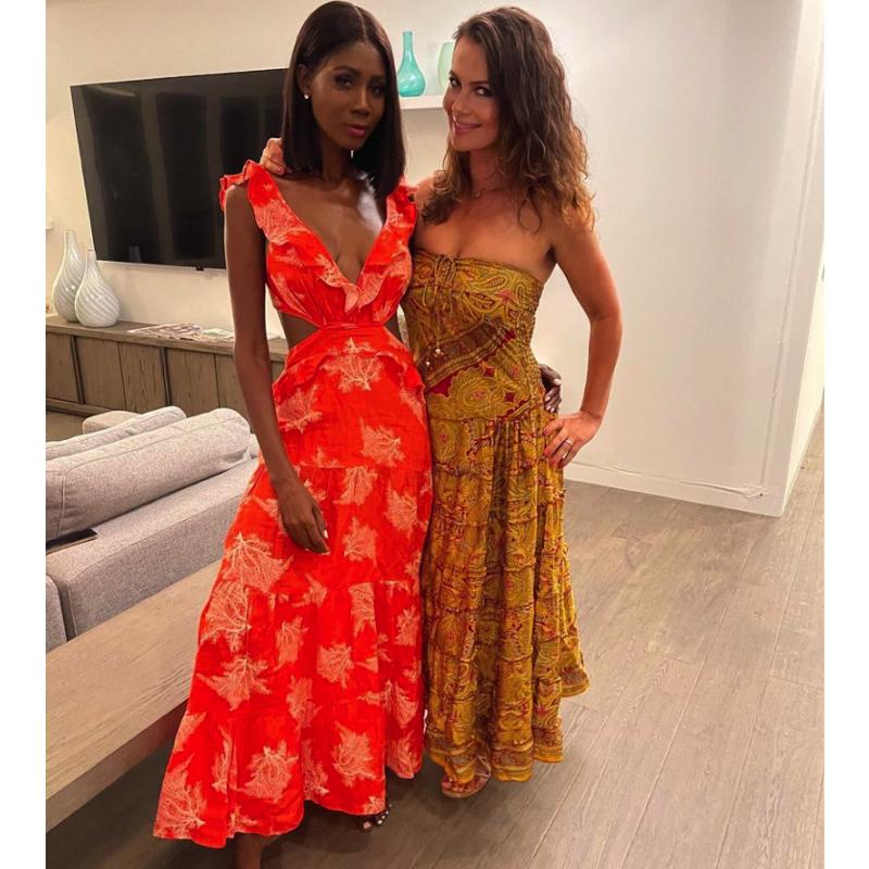 Kiki Barth's Coral Printed Maxi Dress
